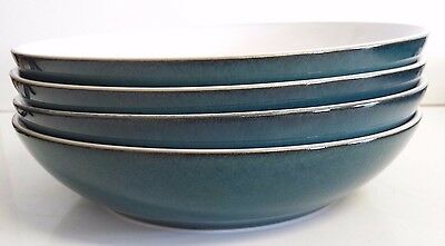Set of four Denby Greenwich pasta bowls, rich turquoise outer white inner VGC