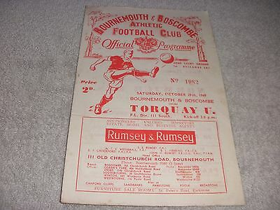 Bournemouth & Boscombe v Torquay United  29/10/49.  Division 3 (South).
