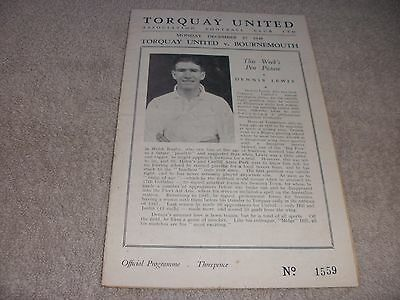 Torquay United v Bournemouth & Boscombe  27/12/48.  Division 3 (South).