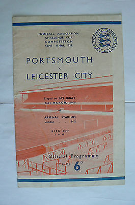 1949 Leicester V Portsmouth Fa Cup Semi Final Programme