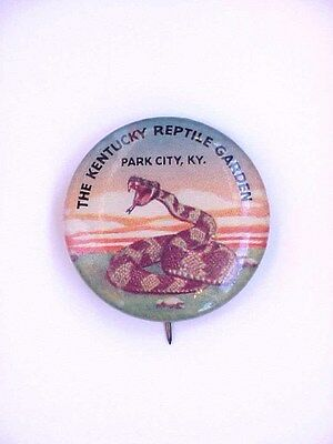VINTAGE Park City KY/Kentucky Reptile Garden Celluloid Pinback/Button