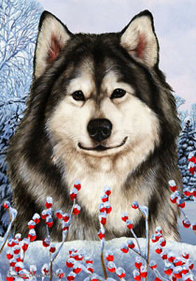 Large Indoor/Outdoor Winter Flag - Alaskan Malamute 15147