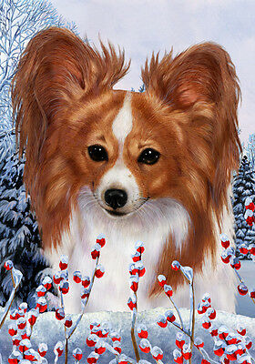Large Indoor/Outdoor Winter Flag - Red & White Papillon 15064