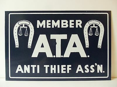 Vintage Sign ATA Cattle Horse Ranch Anti Theft Member Western Law Horseshoe