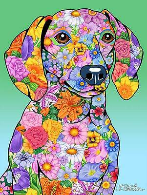 Large Indoor/Outdoor Flowers (TP) Flag - Dachshund 96039