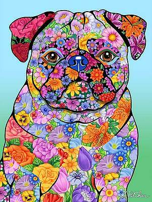 Large Indoor/Outdoor Flowers (TP) Flag - Pug 96089