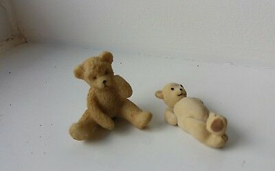 Dolls House Miniatures Two Lovely Teddy Bears - Pottery