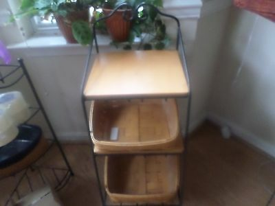 Longaberger 3 Bin Shelving Storage Shelving Iron Unit With 2 Shelves 2 Baskets