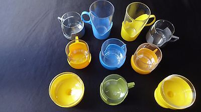 Vintage/ Retro 1960s /1970s TEN  Pyrex DrinkUp Glass Cups With Plastic Holders