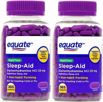 2 pk Equate Nighttime Sleep-Aid Caplets Diphenhydramine HCI 25 mg 365 count