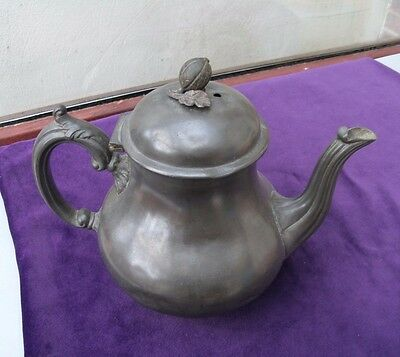 ANTIQUE BEST BRITANNIA METAL PEWTER TEAPOT WITH ACORN FINIAL EARLY 1900s