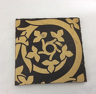 Victorian Maw & Co Benthall Works Brown Pattern Floor Tile (B)
