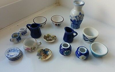 Dolls House Miniatures Job Lot Of Pottery Items Vases Bowls Crockery Etc