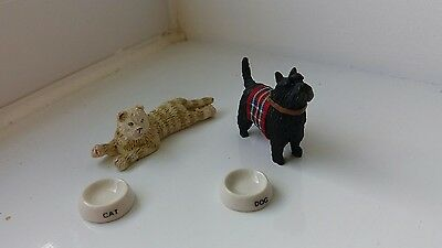 Dolls House Miniatures Job Lot  - Ginger Cat & Scottie Dog With Bowls