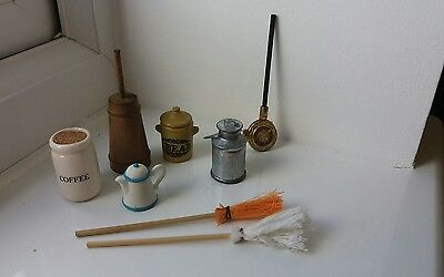 Dolls House Miniatures Job Lot Kitchen Items 2 - Butter & Milk Churn Etc