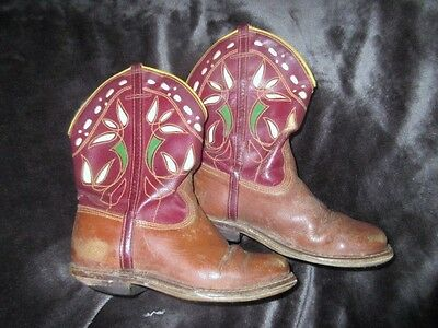 Vtg 50s Kids ChildsToddler toy brown & Red Leather Inlay Western Cowboy Boots
