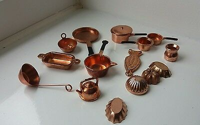 Dolls House Miniatures Job Lot Copper Look Kitchen Items