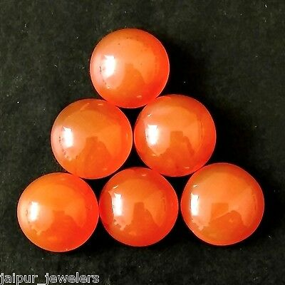 6 Pcs LOT OF 10.5-11mm ROUND CABOCHON NATURAL EARTH MINED CARNELIAN GEMSTONE