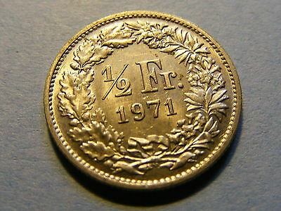 A very nice 1971 Switzerland  Half Franc Coin Good condition -  17mm Dia