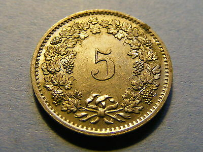 A very nice 1970 Switzerland 5 Rappen Coin Good condition -  17mm Dia