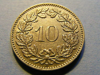 A very nice 1957 Switzerland 10 Rappen Coin Good condition -  19mm Dia