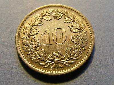 A very nice 1968 Switzerland 10 Rappen Coin Good condition -  19mm Dia