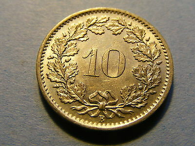 A very nice 1969 Switzerland 10 Rappen Coin Good condition -  19mm Dia