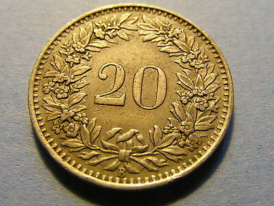 A very nice 1943 Switzerland 20 Rappen Coin Good condition -  21mm Dia