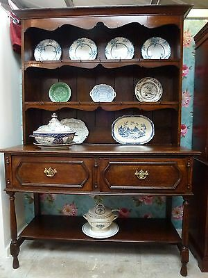 Antique Heavy Oak Dresser With Square Top - Farmhouse Welsh Kitchen Cottage