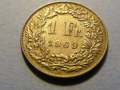 A very nice 1969 Switzerland  1 Franc Coin Good condition -  23mm Dia