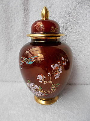 Carlton Ware Rouge Royale - Large Lidded Jar with Bird & Flower Decoration