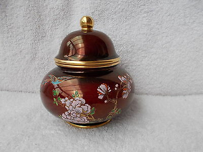 Carlton Ware Rouge Royale - Squat Lidded Jar with Bird & Flower Decoration