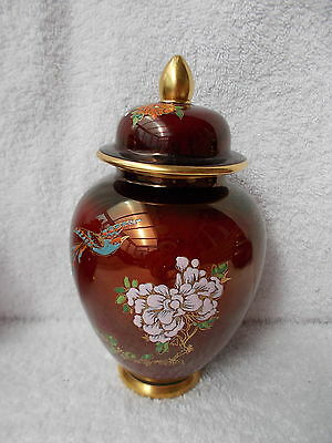 Carlton Ware Rouge Royale - Small Lidded Jar with Bird & Flower Decoration