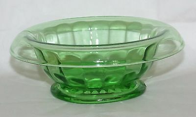 """Vintage Green Depression Vaseline Glass Ribbed Rolled Edge Candy Dish Bowl 6""""dia"""