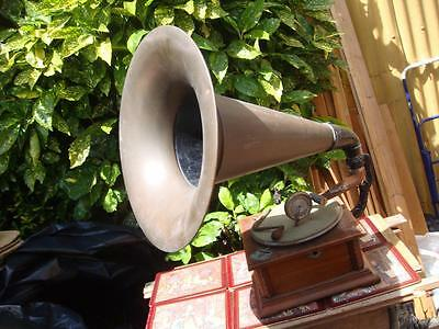 Vintage Antique Old Gramophone Phonograph  With Horn & Sound box For Restoration