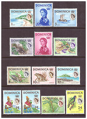 Dominica 1963-1965 QEII set to 24c MM/MH SG162-173 (both types of 14c)