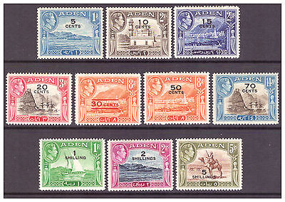 Aden 1951 GVI New Currency Surcharge set to 5/- on 5r MM/MH SG36-45