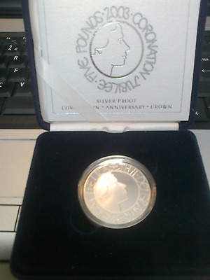 UK 2003 SILVER PROOF CROWN COIN cased + Cert.