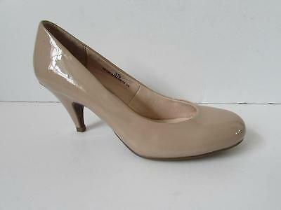 MARKS & SPENCER Ladies Nude Patent High Heel Court Shoes Size 3.5 EU 36
