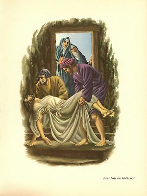 """1956 Vintage BIBLE /""""JESUS GIVES SERMON ON THE MOUNT/"""" STEELE SAVAGE Lithograph"""