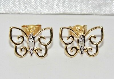 Beautiful 9ct Yellow Gold Diamond Ladies Butterfly Stud Earrings