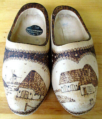 Hand Carved & Wood Burned Klompenfabriek Holland Decorative Wooden Shoes