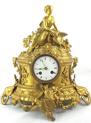 Antique 19th c French gilt bronze figurine & Goose 8 day mantle clock by Marti