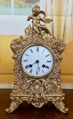 Antique 19th c French Japy Freres figural cherub 8 day bell strike mantel clock