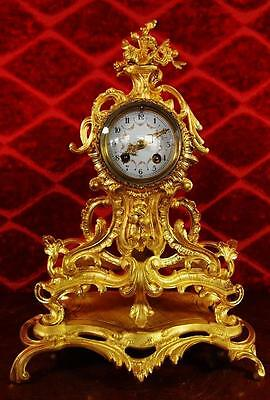 Antique 1855 French gilt bronze Roccoco 8 day mantel clock on base by Vincenti