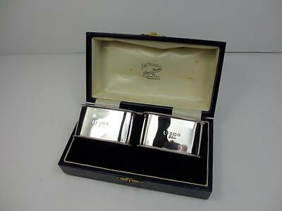 Fine Boxed Pair Of Art Deco Silver Napkin Rings Birmingham 1932  Mum & Dad