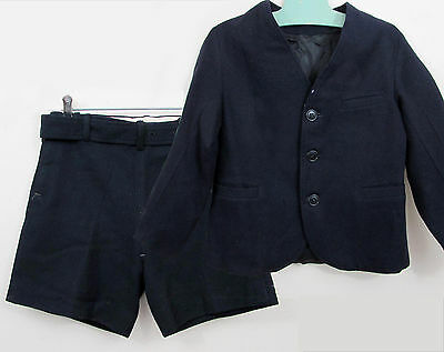 1930s-40s Boys Suit with short pants - blue wool - all lined - 4-5