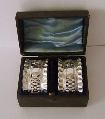 A Cased Pair Of Good Quality Antique Silverplated Napkin Rings