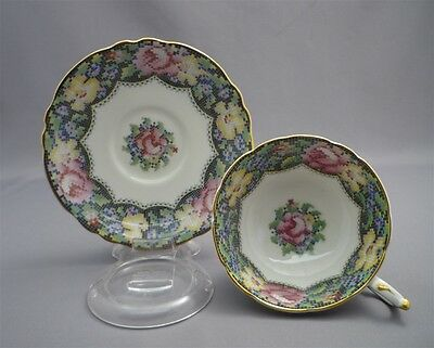 Wide Fancy Paragon England GINGHAM ROSE Pink Bone China Cup & Saucer Duo Set