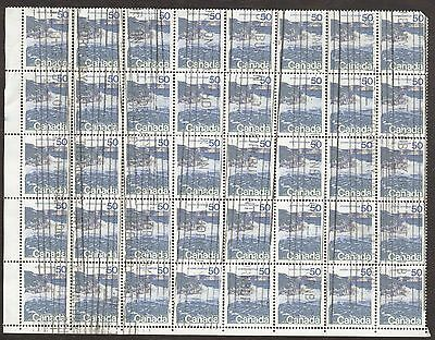 Stamp Canada # 598, 50¢, 1972, 1 block of 40 used stamps.